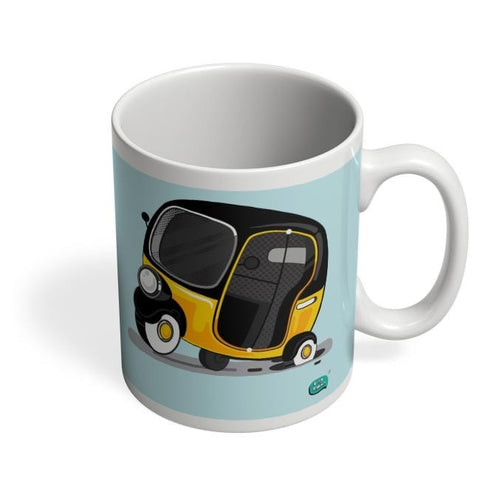 Auto Rickshaw in pot Hole | Typical Mumbai Coffee Mug Online India
