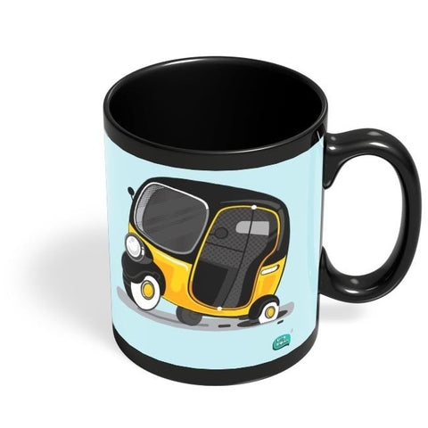 Auto Rickshaw in pot Hole | Typical Mumbai Black Coffee Mug Online India