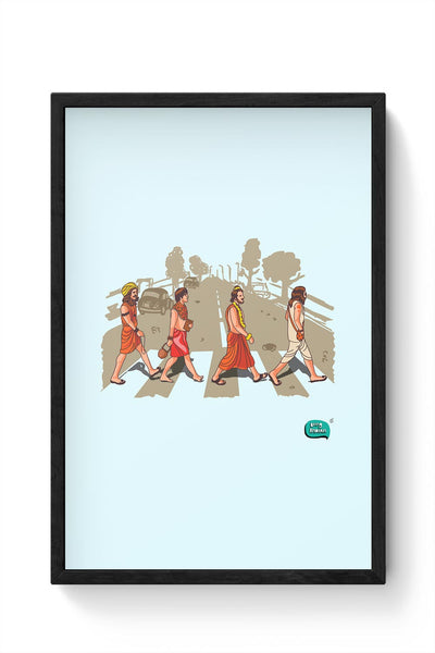 Sadhu Beatles Quirky Illustration Framed Poster Online India