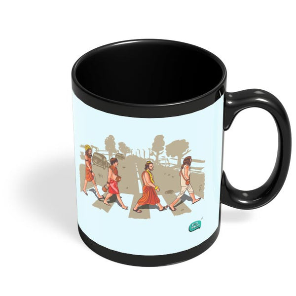 Sadhu Beatles Quirky Illustration Black Coffee Mug Online India