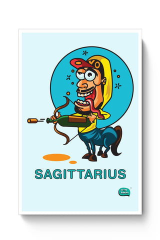 Saggitarius Funny Zodiac Illustration Poster Online India