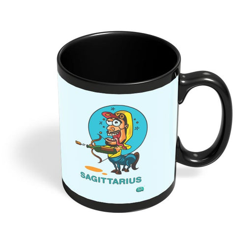 Saggitarius Funny Zodiac Illustration Black Coffee Mug Online India