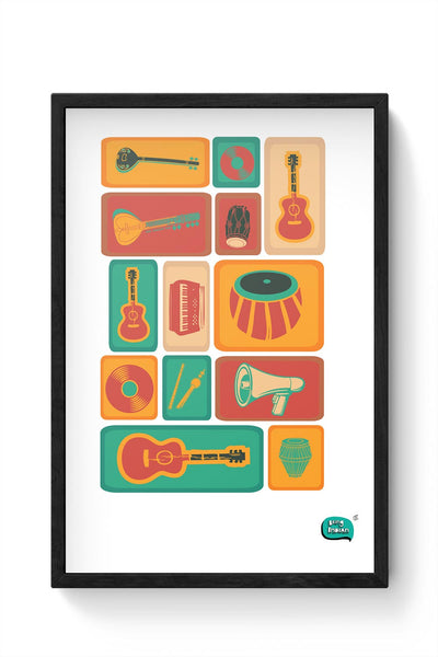 Music Instruments Collection Illustration Framed Poster Online India