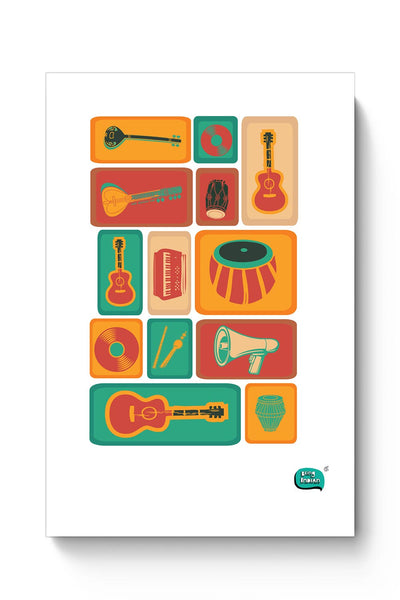 Music Instruments Collection Illustration Poster Online India