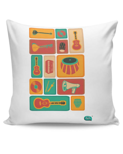 Music Instruments Collection Illustration Cushion Cover Online India