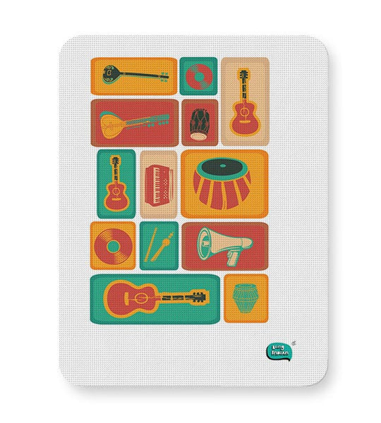 Music Instruments Collection Illustration Mousepad Online India