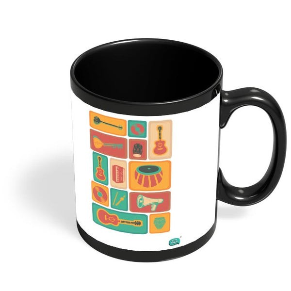 Music Instruments Collection Illustration Black Coffee Mug Online India