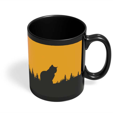 Coffee Mugs Online | Minimal Cat Black Coffee Mug Online India