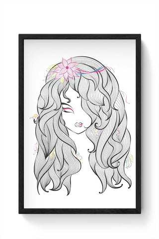 Framed Posters Online India | Beautiful Girl Laminated Framed Poster Online India
