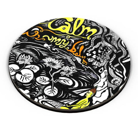 PosterGuy | Calm Is My Balm Buddha In The Lotus Pond Fridge Magnet Online India by Psyd Effects