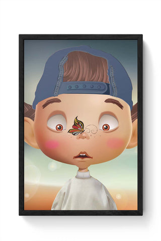 Framed Posters Online India | Butterfly On Nose - Rachyeta Laminated Framed Poster Online India