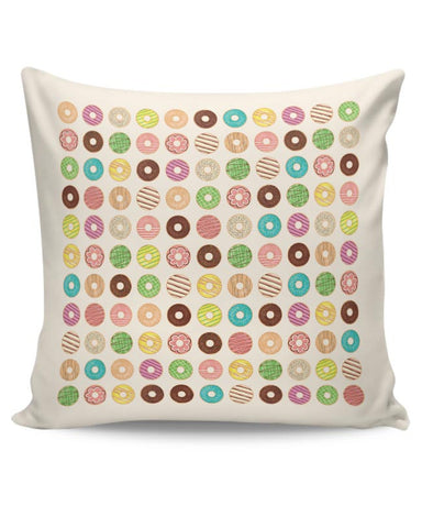 donut, donuts, food, sweets, donut love, donut pattern Cushion Cover Online India