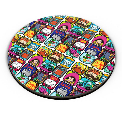 PosterGuy | India Squares Fridge Magnet Online India by Woodle Doodle