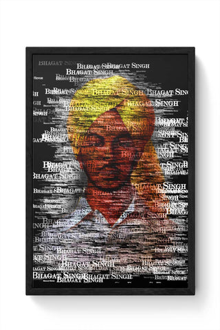 Framed Posters Online India | Bhagat-Singh Typography Framed Poster Online India
