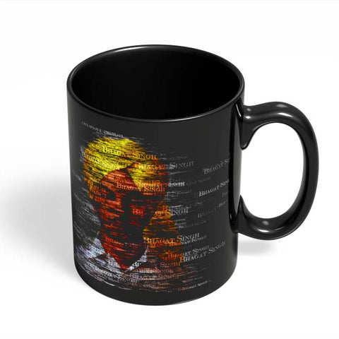 Coffee Mugs Online | Bhagat-Singh Typography Black Coffee Mug Online India