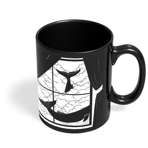 Coffee Mugs Online | Flying Whale In Windows Black Coffee Mug Online India