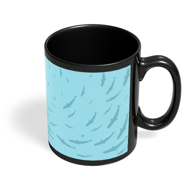 Coffee Mugs Online | Shark Round Pattern Black Coffee Mug Online India