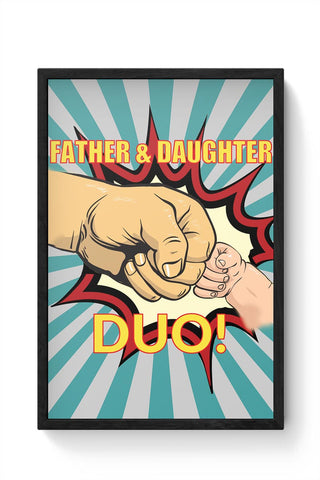 father and daughter duo! illustration Framed Poster Online India