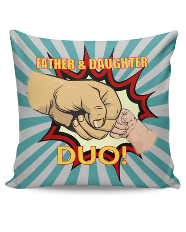 father and daughter duo! illustration Cushion Cover Online India