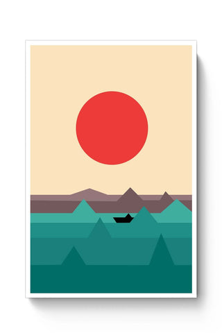 Posters Online | Seaside Sunrise Poster Online India | Designed by: Krish Wadhwana