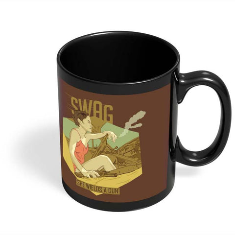 Coffee Mugs Online | Swag She Wields A Gun Black Coffee Mug Online India