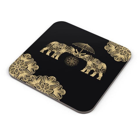 Buy Coasters Online | Gold Elephant Coasters Online India | PosterGuy.in