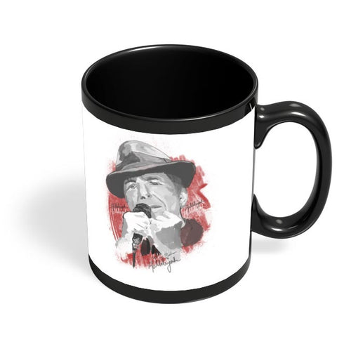Leonard Cohen - Hallelujah Black Coffee Mug Online India