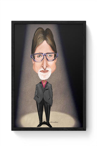 Framed Posters Online India | Big B Caricature Framed Poster Online India