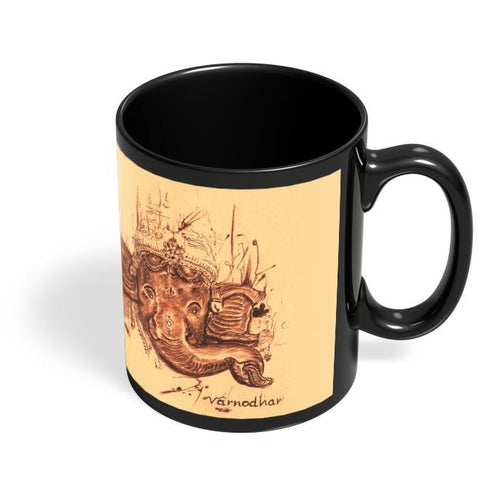 Coffee Mugs Online | Lord Ganesha Sketch Black Coffee Mug Online India