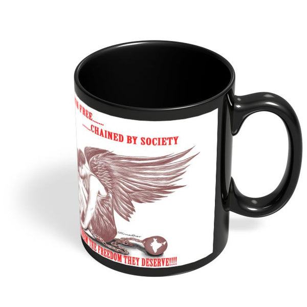 Coffee Mugs Online | Born Free | Chained By Society Black Coffee Mug Online India