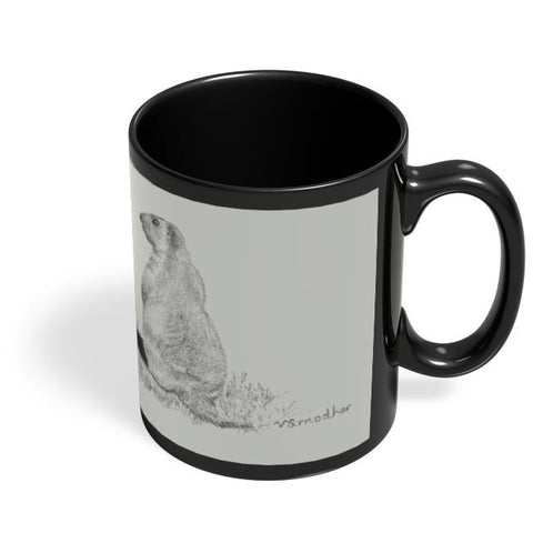 Coffee Mugs Online | Squirrel Sketch Black Coffee Mug Online India