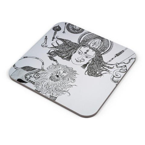 Buy Coasters Online | DURGA MAA Sherawali Maa Coasters Online India | PosterGuy.in