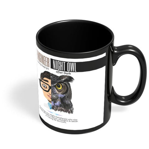 Coffee Mugs Online | Engineer By Day | Elephant By Night Black Coffee Mug Online India