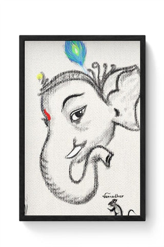 Framed Posters Online India | Lord Ganesha Illustration Framed Poster Online India