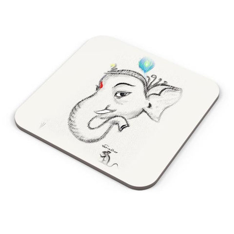 Buy Coasters Online | Lord Ganesha Illustration Coasters Online India | PosterGuy.in