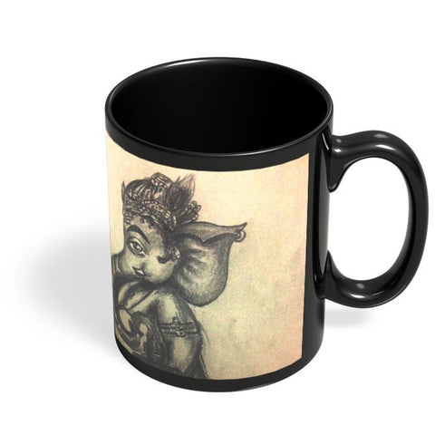 Coffee Mugs Online | Ganesh Ji Illustration Black Coffee Mug Online India