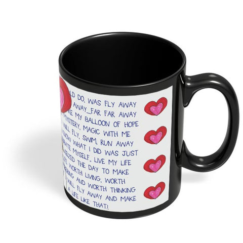 Coffee Mugs Online | Fly with Your Heart Black Coffee Mug Online India