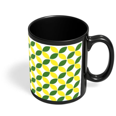 Coffee Mugs Online | Green Leaf Pattern Black Coffee Mug Online India