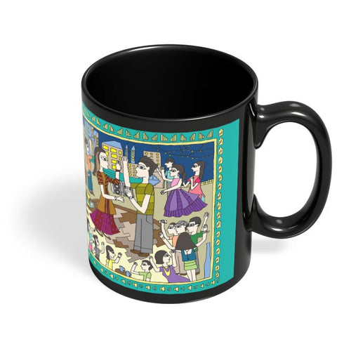 Coffee Mugs Online | Modern Madhubani Black Coffee Mug Online India