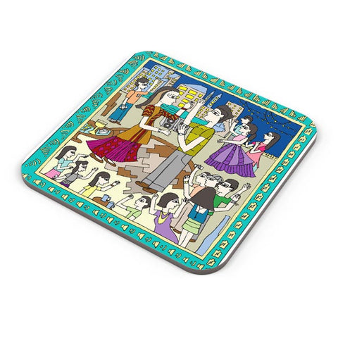 Buy Coasters Online | Modern Madhubani Coasters Online India | PosterGuy.in