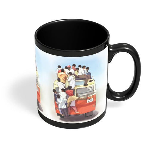Crowded Bus Black Coffee Mug Online India