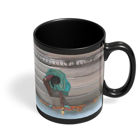Morning Puja In India Black Coffee Mug Online India