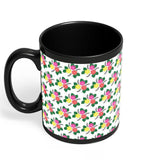 Floral Doodle Black Coffee Mug Online India | Designed by: Wish-Alley