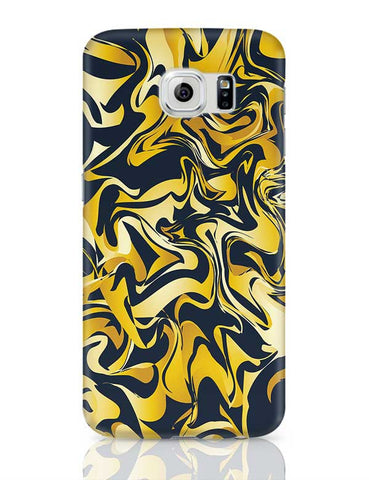 yellow and blue marble abstract texture Samsung Galaxy S6 Covers Cases Online India