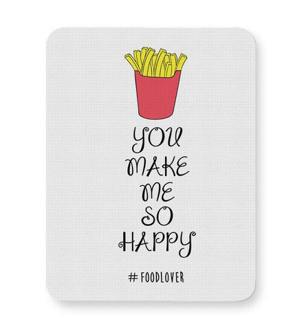 Food,Lover,Love,Fries,Frieslover,Trending,Latest,Yellow,White,Foodlove,Happy Mousepad Online India