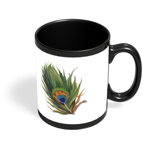Peacock Feather Black Coffee Mug Online India