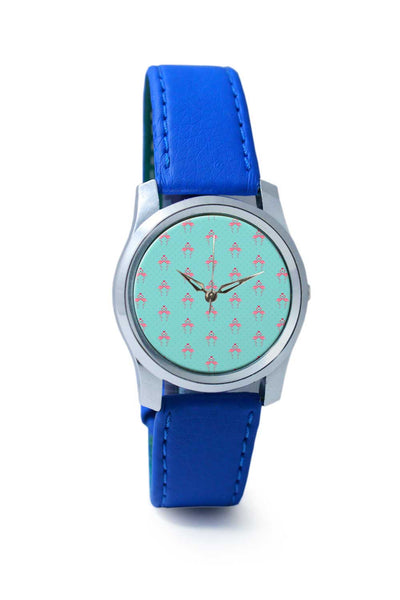 Women Wrist Watch India | Pink Flamingo - Blue Background Wrist Watch Online India
