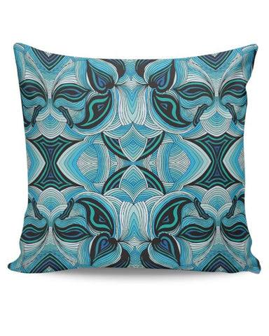 Blue, Pattern, Repeat, Abstract, Trippy, Lines, Aqua Cushion Cover Online India