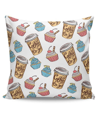 Food, Pattern, Quirky, Coffee,  Cupcakes. Cushion Cover Online India