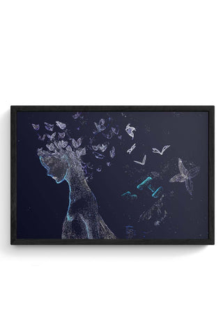Butterfly, Abstract, Night, Woman, Free, Posterguy Framed Poster Online India